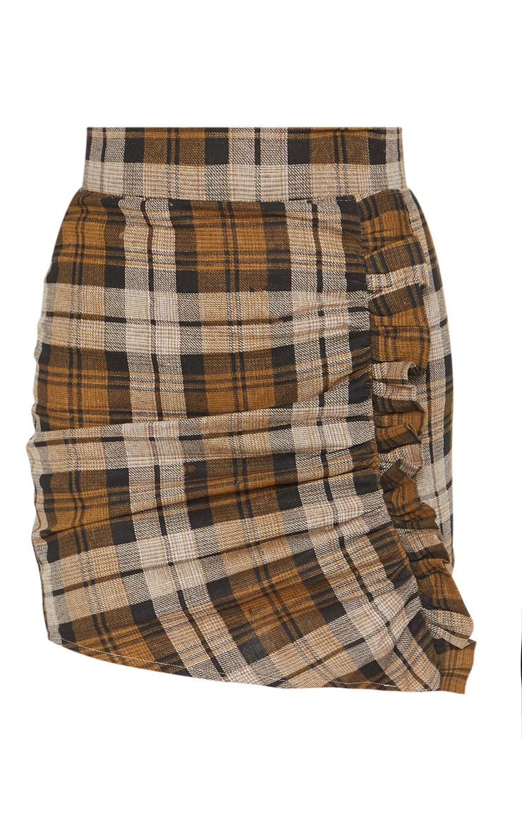 Chocolate Check Ruched Detail Mini Skirt  3