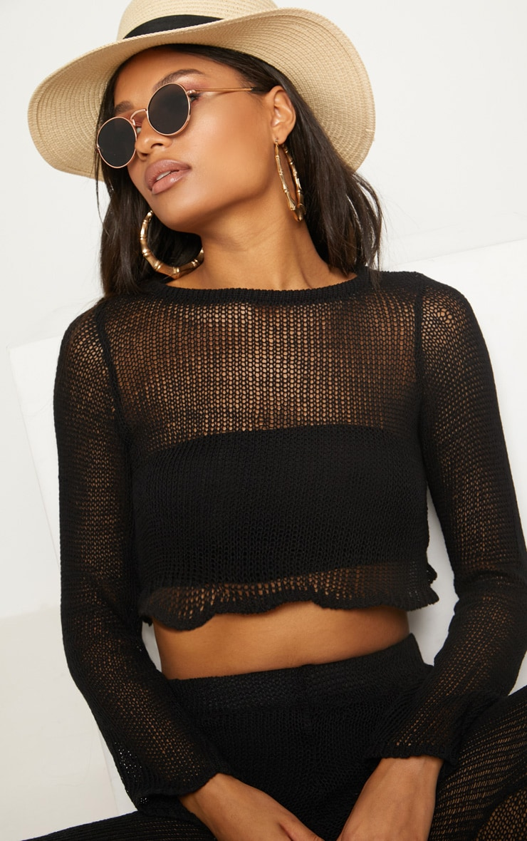 Black Open Knit Cropped Jumper 5