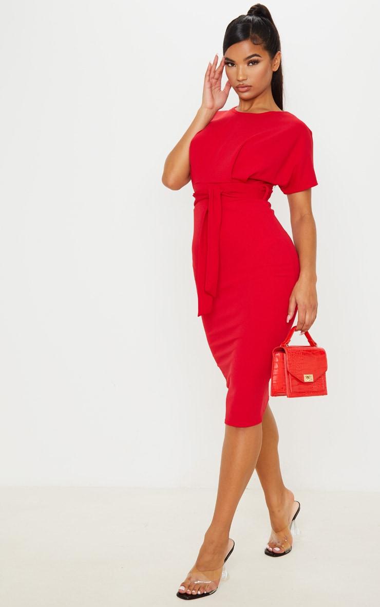 Red Short Sleeve Tie Waist Midi Dress 4