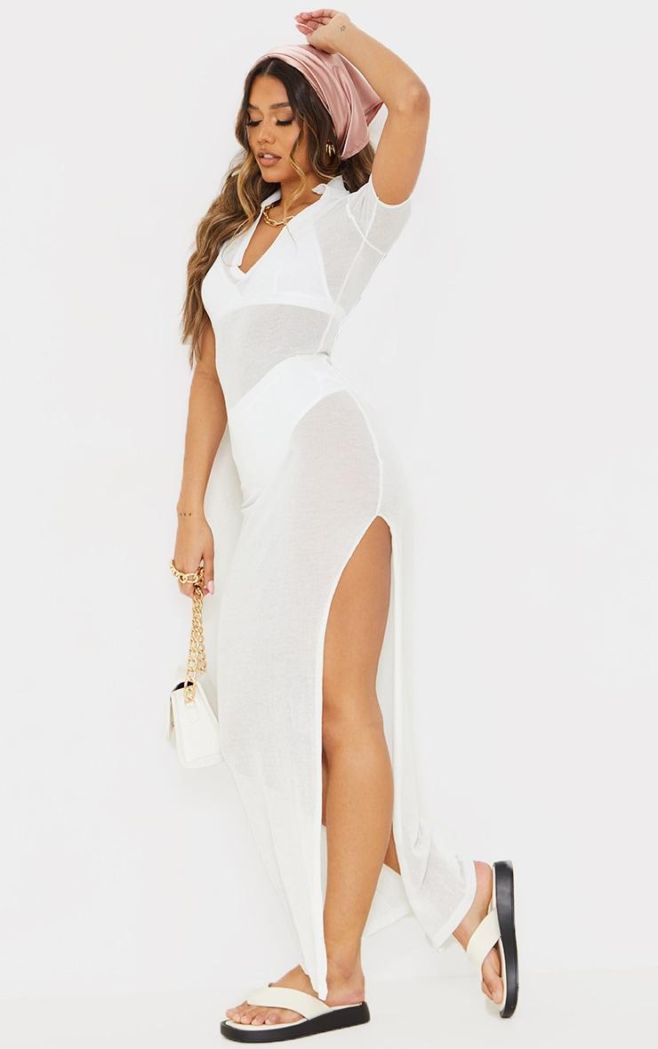 Cream Sheer Knit Collar Detail Maxi Dress 3