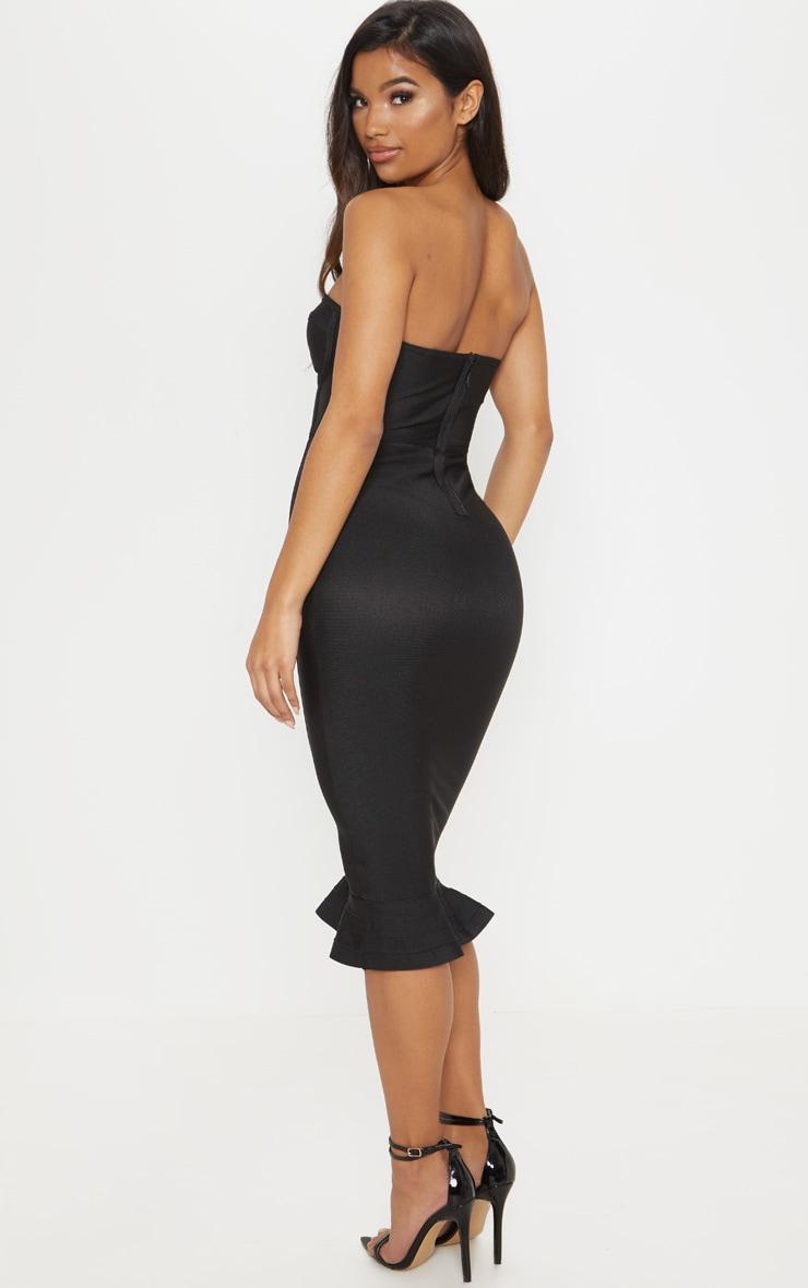 Roxina Black Bandage Frill Hem Midi Dress 2