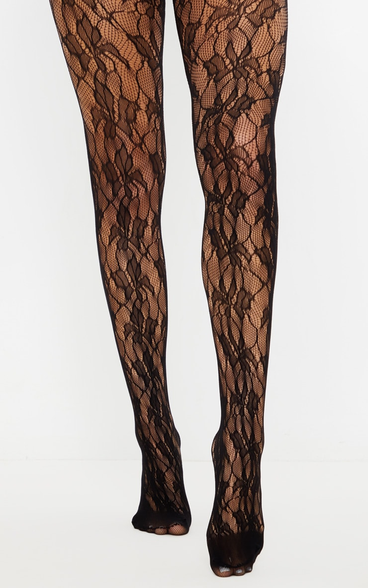 Black Floral Lace Tights by Prettylittlething