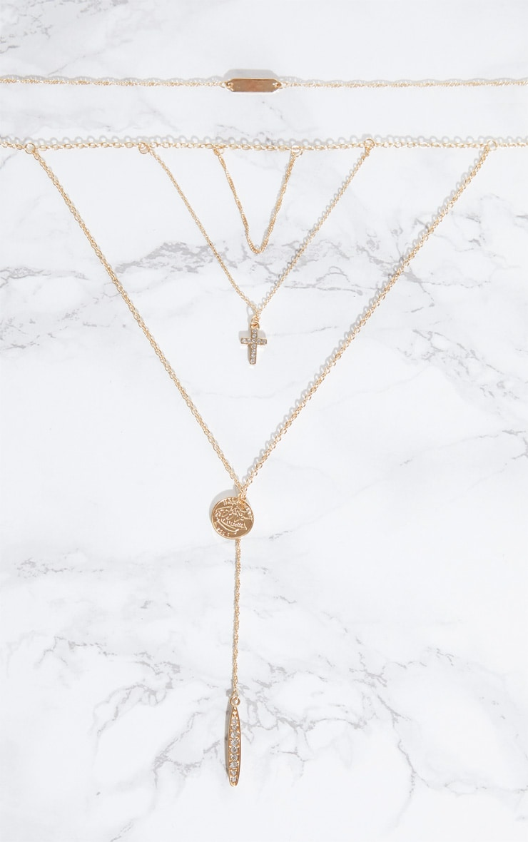 Gold Multi Layer Cross Pendant Necklace 3