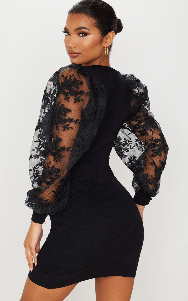 Black Embroidered Mesh Sleeve Knitted Dress 2