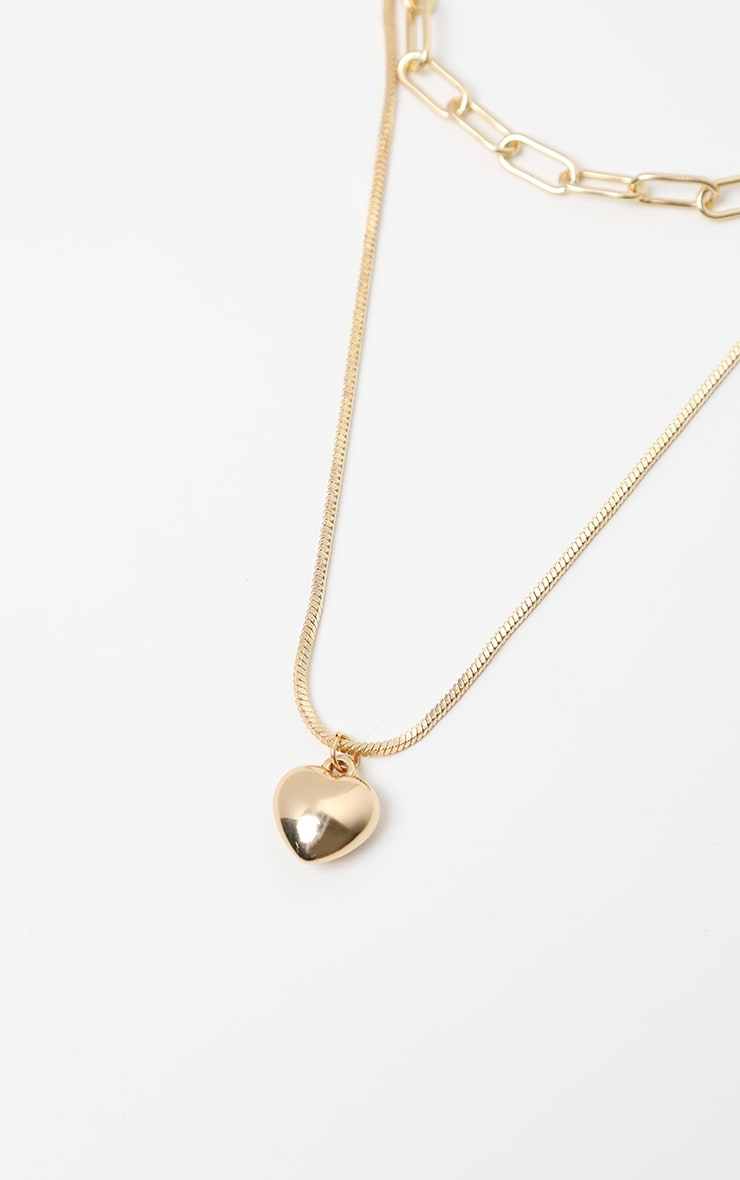 Gold Multi Layering Heart Chain Necklace 3