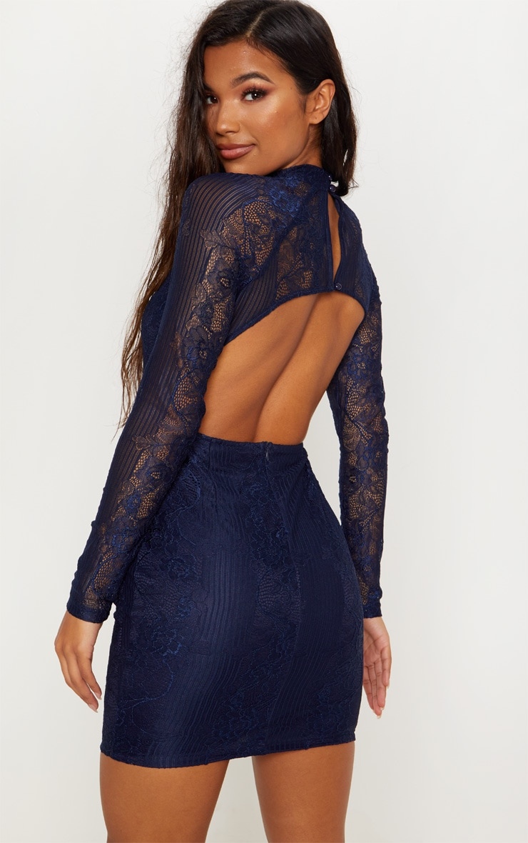 Navy Ribbed Lace Backless Bodycon Dress 1