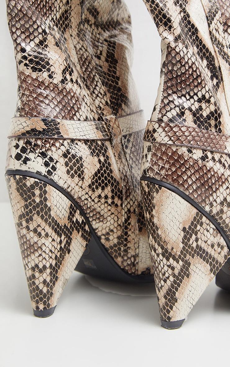 Snake Cone Heel Thigh High Western Boot 4