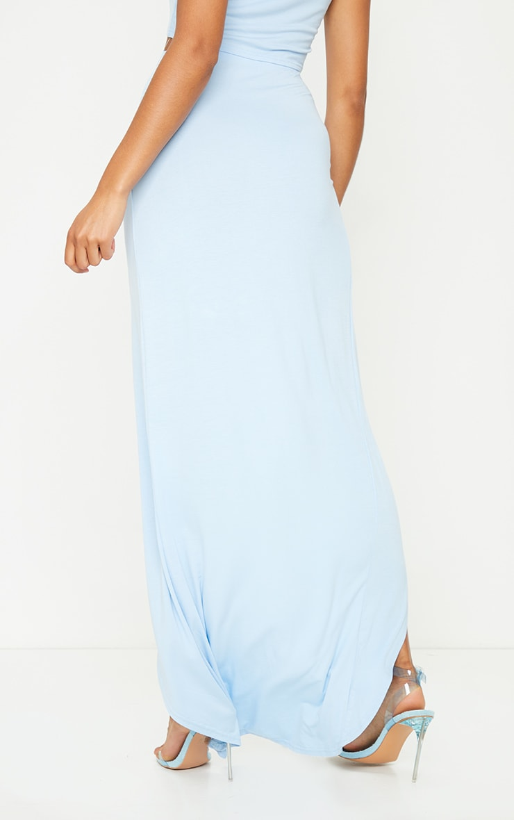 Blue Cotton Knot Tie Side Midaxi Skirt 3