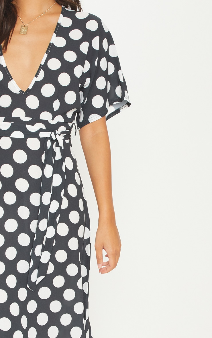 Monochrome Polka Dot Midi Dress 5