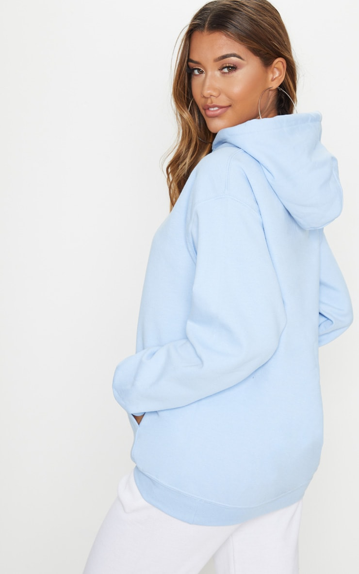 PRETTYLITTLETHING Recycled Baby Blue Oversized Sweat Hoodie 2