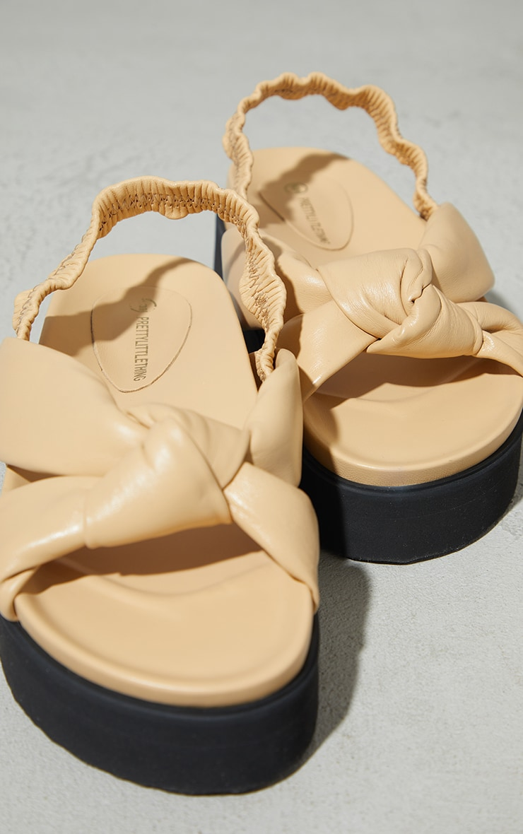 Beige Real Leather Knotted Flatfom Footbed Sandals 3