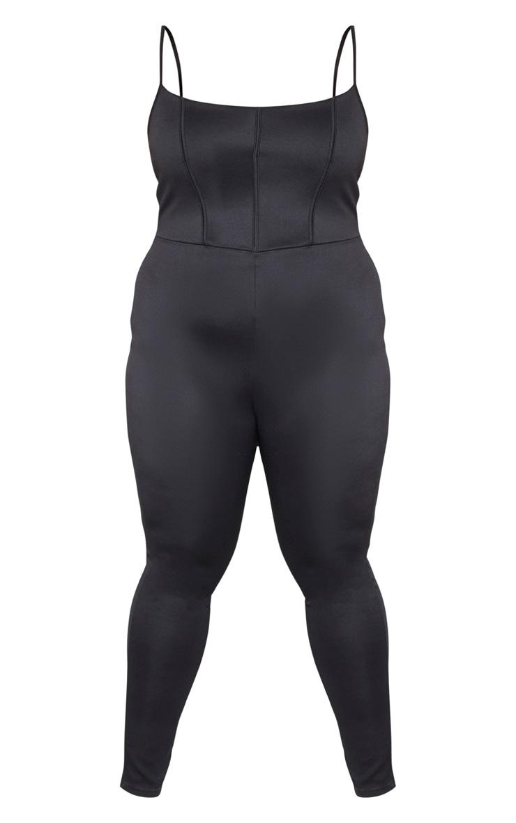 Plus Black Scuba Corset Detail Jumpsuit 3
