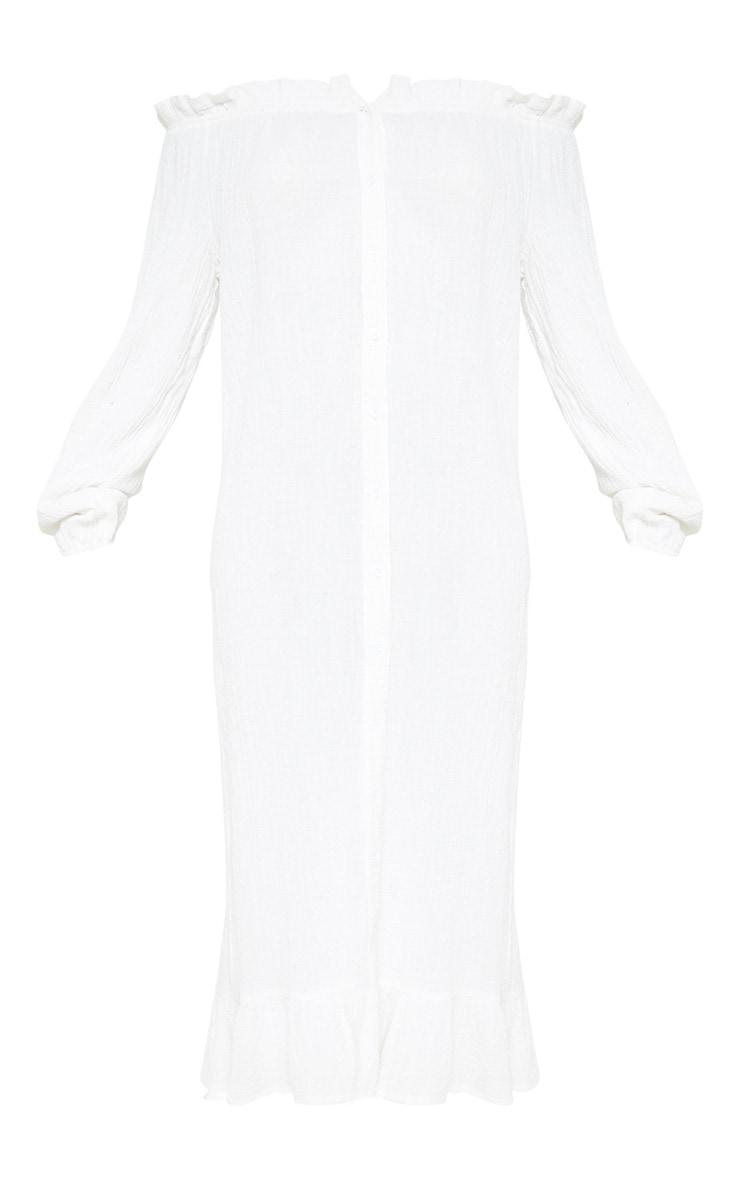 White Frill Hem Bardot Maxi Dress 3