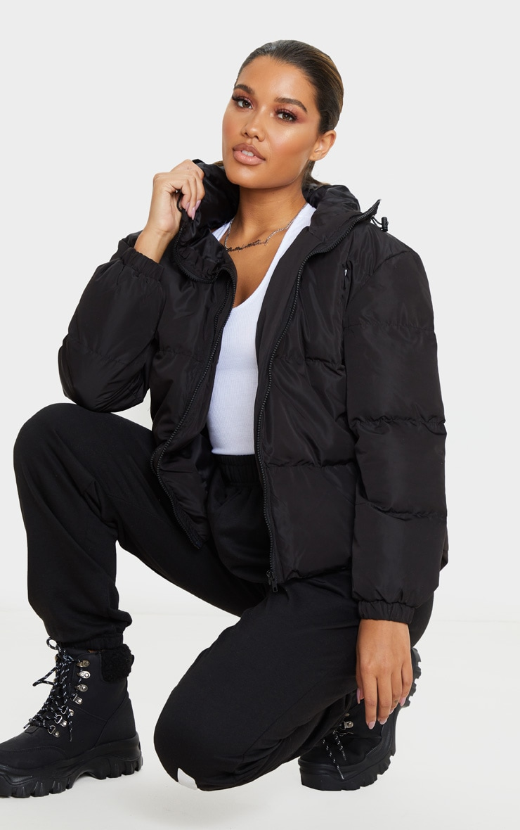 Black Hooded Zip Up Puffer Jacket 4