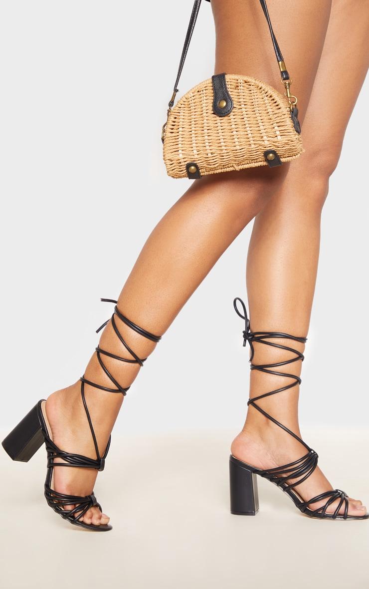Sandales noires à gros talon & brides montantes 1