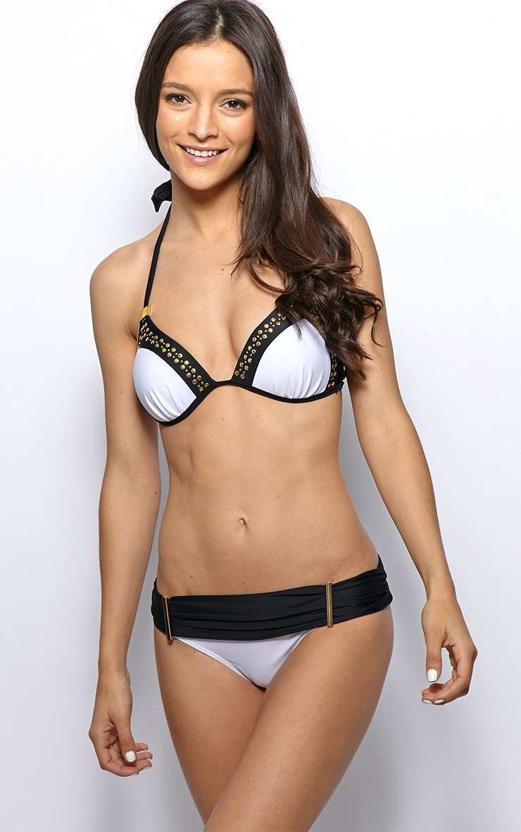 Lora Monochrome Gold Studded Plunge Bikini Top 1