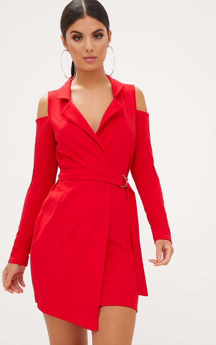 Red Cold Shoulder Blazer Dress 1