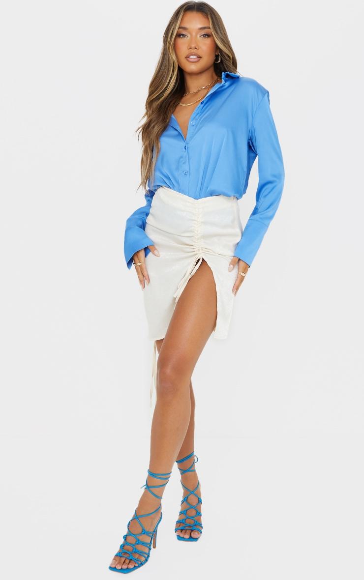 Cream Hammered Satin Ruched Detail Mini Skirt 1