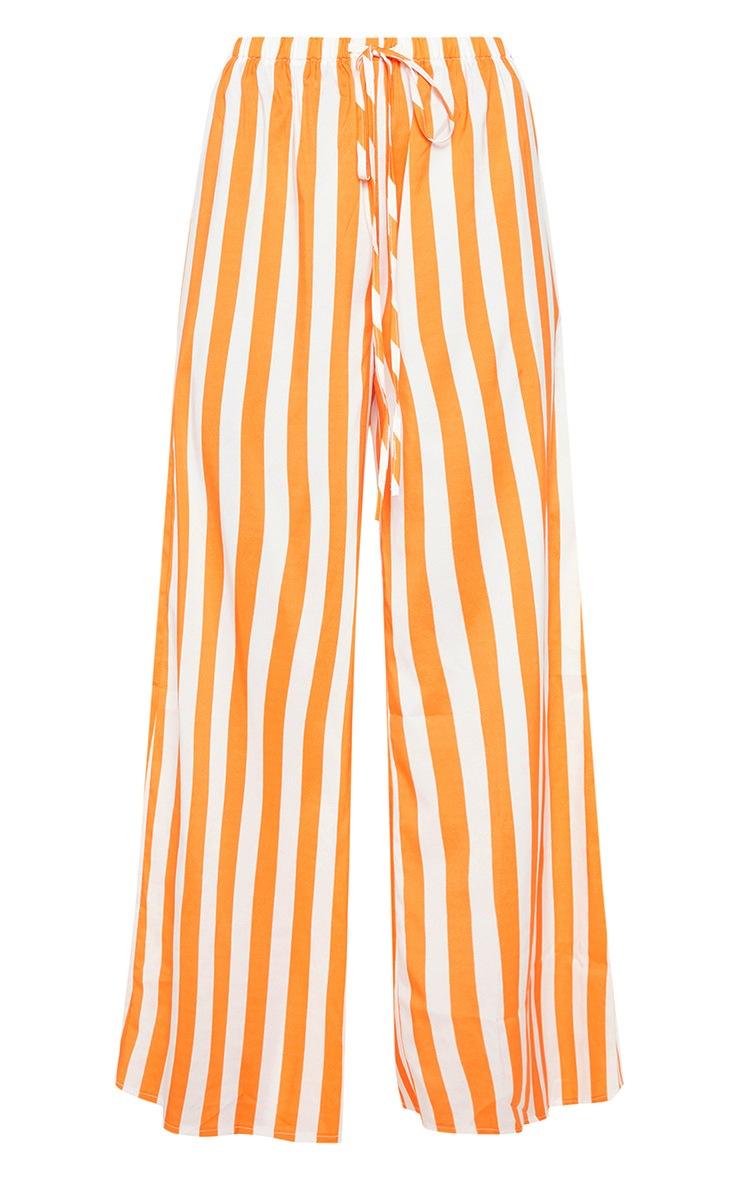 Bright Orange Stripe Wide Leg Pants 3