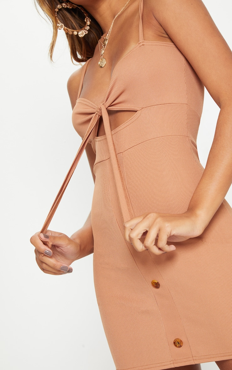 Camel Ribbed Tie Front Button Down Bodycon Dress 5