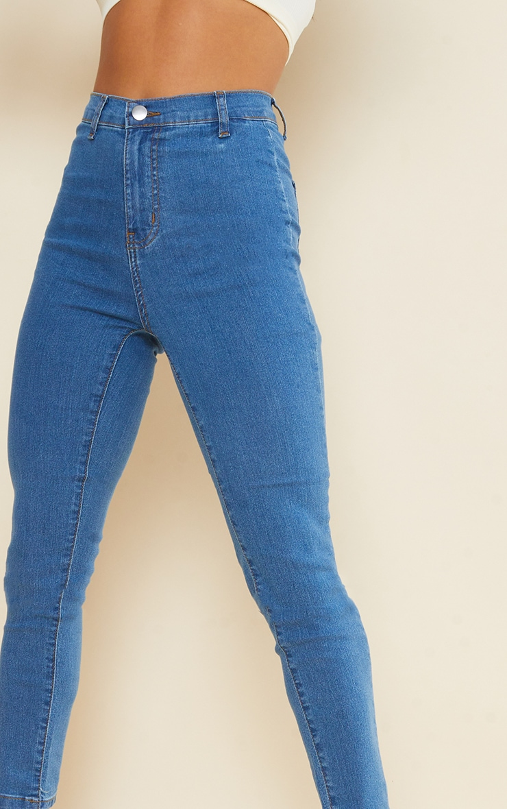 Petite Mid Blue Wash Disco Fit Skinny Jeans 4