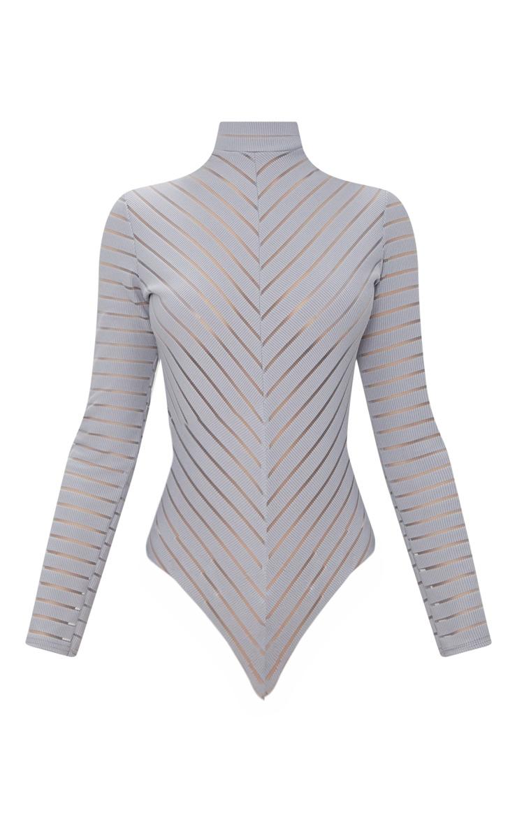 Grey Chevron Mesh Long Sleeve Thong Bodysuit  3