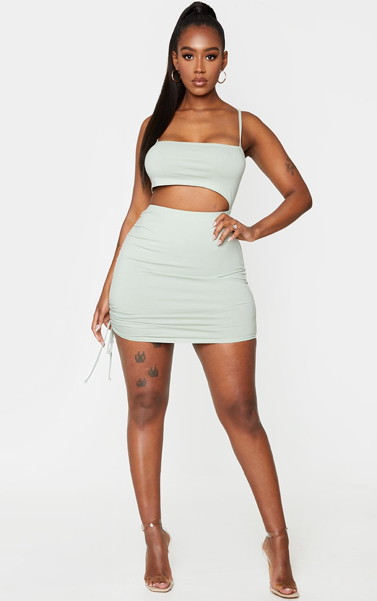 Shape Dark Mint Cotton Strappy Ruched Side Bodycon Dress 1
