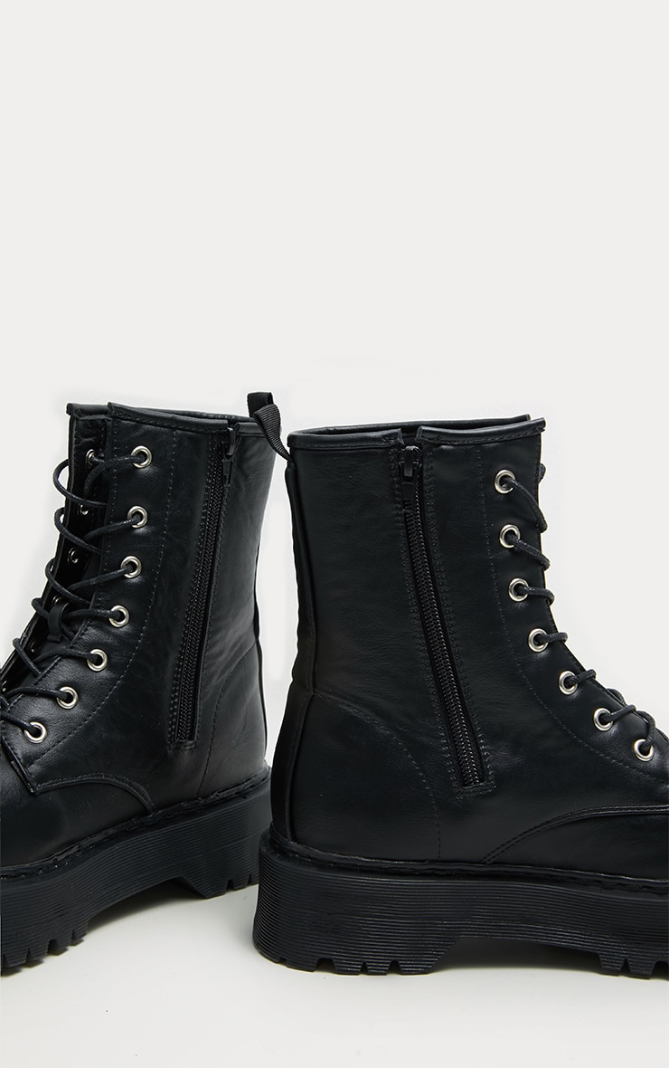 Black Chunky Sole Lace Up Ankle Boot 4
