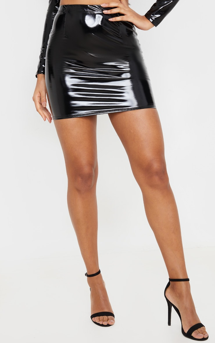 Black Vinyl Bodycon Skirt 2