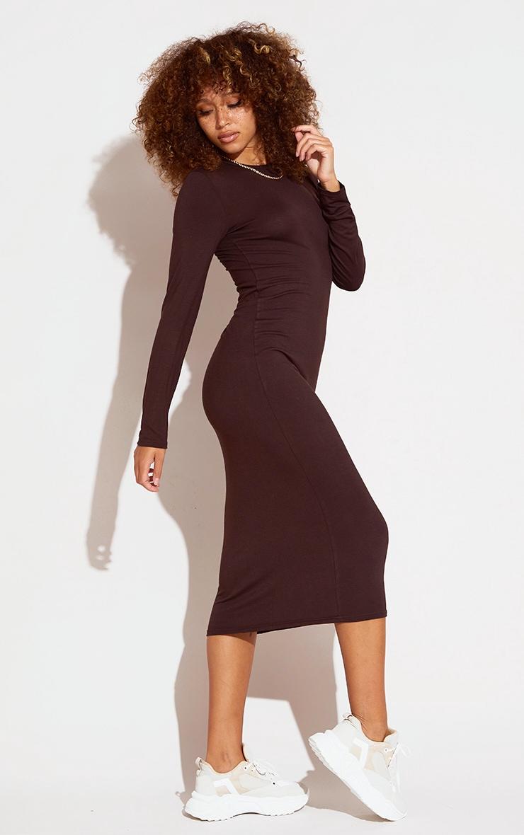 Chocolate Scoop Neck Jersey Long Sleeve Midi Dress 3