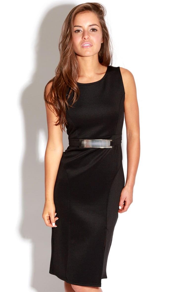 Briony Black Bodycon Midi Dress 5