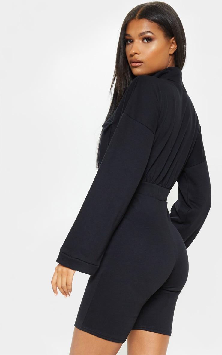 Black Zip Front Long Sleeve Sweat Unitard 2