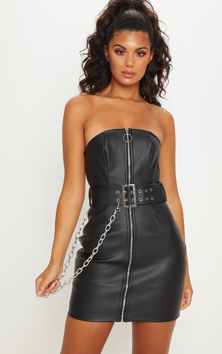 cf8474302d Black Faux Leather Bodycon Dress | Dresses | PrettyLittleThing USA