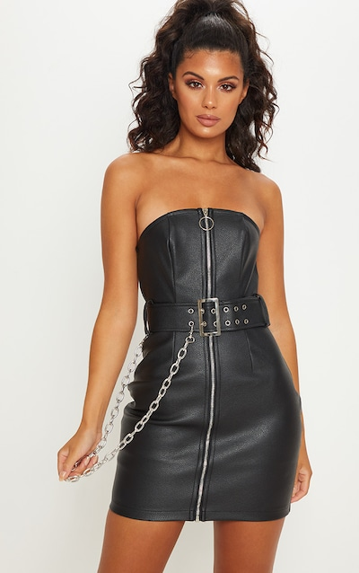 e2c0da3e025 Black Faux Leather Chain Belted Bandeau Bodycon Dress