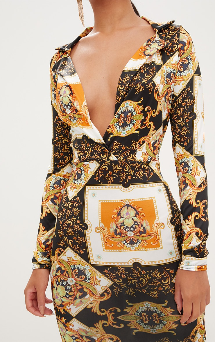 Black Scarf Print  Collar Detail Bodycon Dress  4