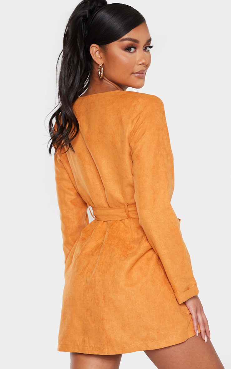 Tan Faux Suede Tortoise Button Buckle Blazer Dress 3