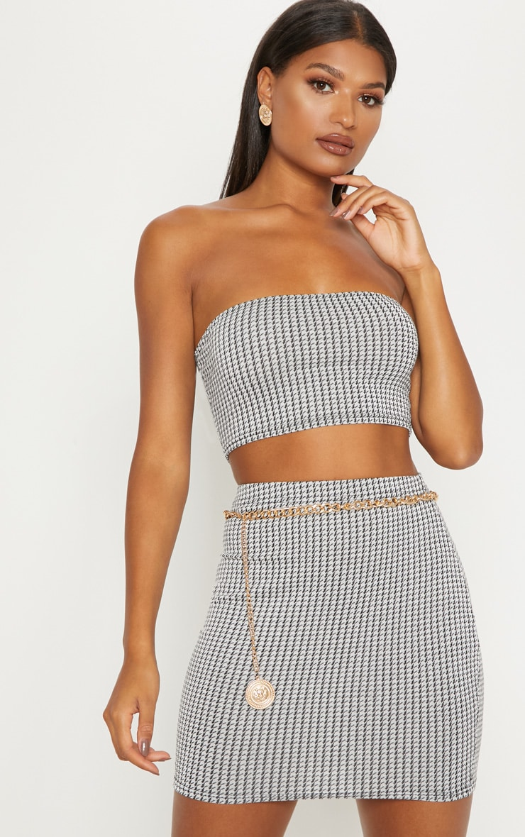 Monochrome Dogtooth Print Mini Skirt