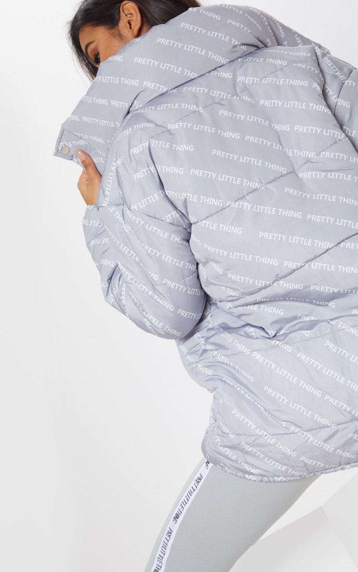 PRETTYLITTLETHING Grey Print Puffer Jacket 4