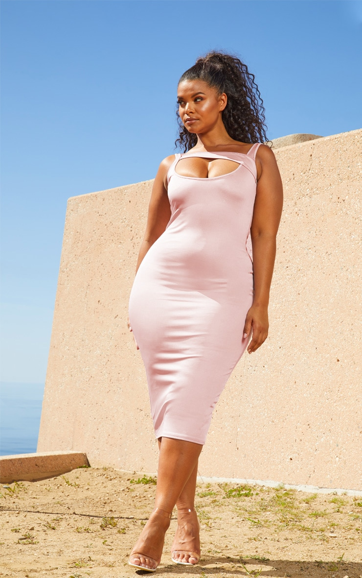 Plus Lilac Second Skin Strap Detail Midi Dress