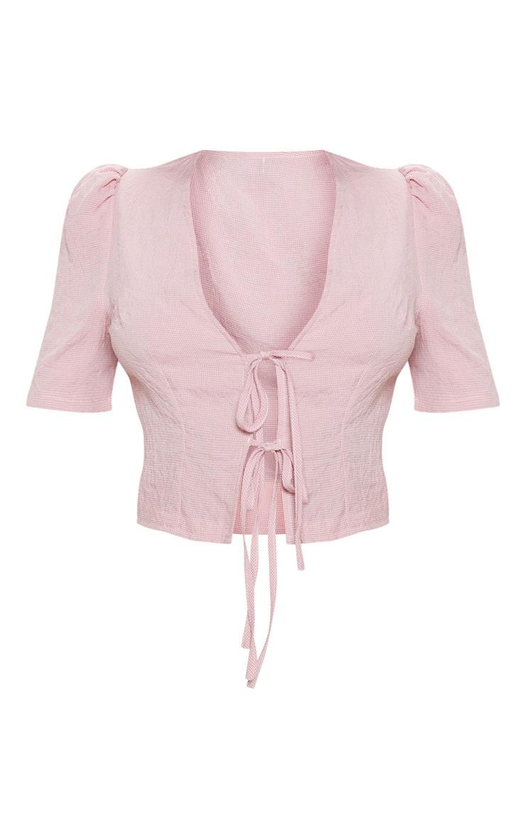 Pink Gingham Tie Front Short Sleeve Crop Top 3