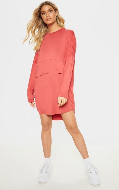 Terracotta Long Sleeve Layer Jersey T Shirt Dress 0529e07dc