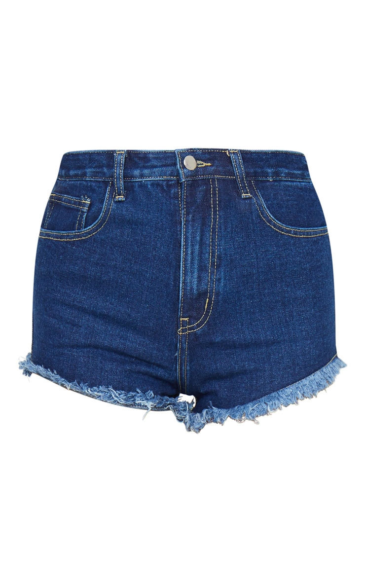 PRETTYLITTLETHING Dark Blue Wash Frayed Hem Bum Rip Denim Shorts 6
