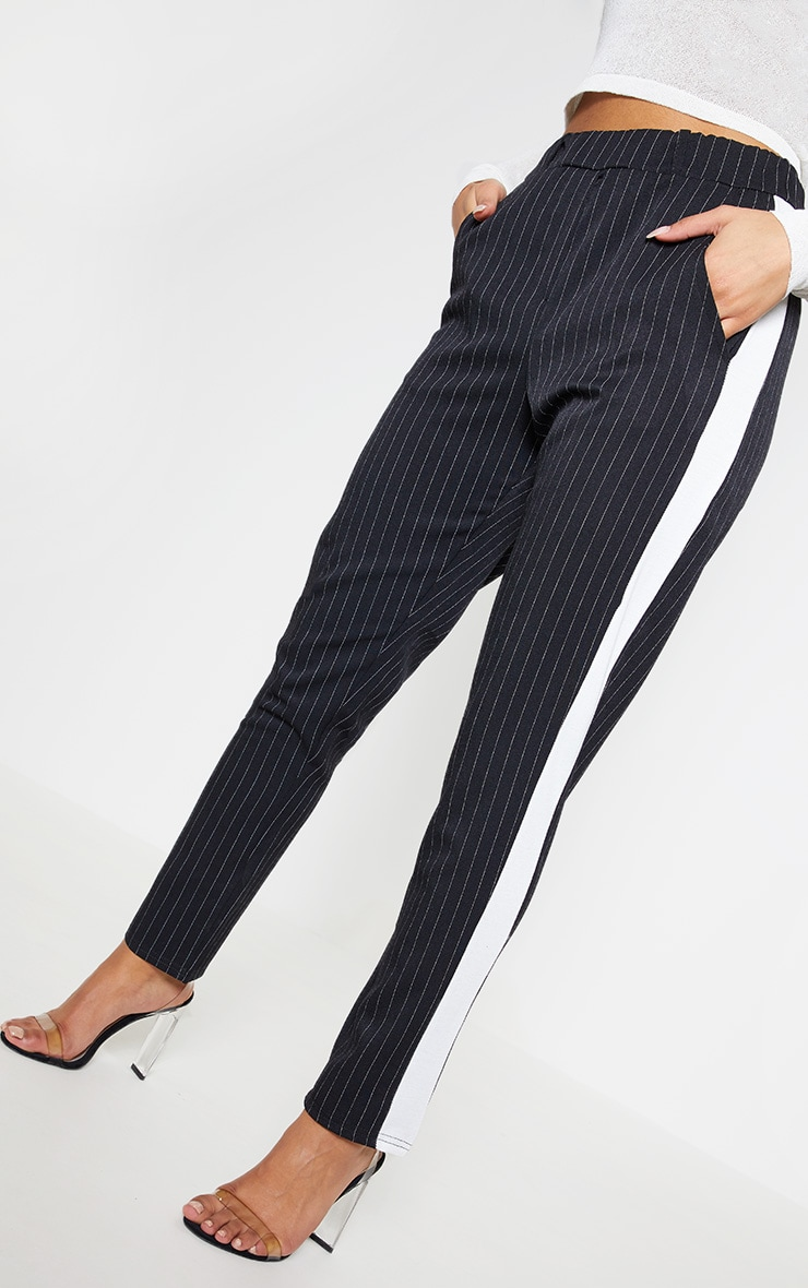 Black Pinstripe Formal Side Stripe Trouser 5