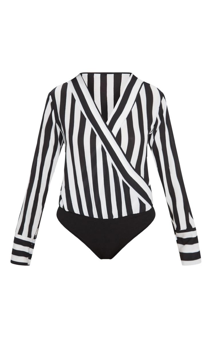 Black Monochrome Stripe Plunge Bodysuit 3