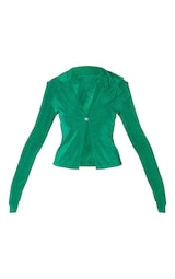 Bright Green Recycled Slinky Acetate Collar Detail Button Up Long Sleeve Top 5
