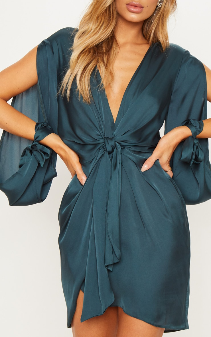 Emerald Green  Satin Twist Front Open Sleeve Wrap Dress 4