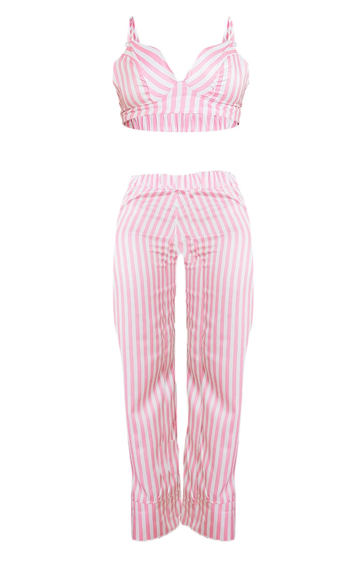 Pink Candy Stripe Satin Triangle Bralet And Trousers PJ Set 5
