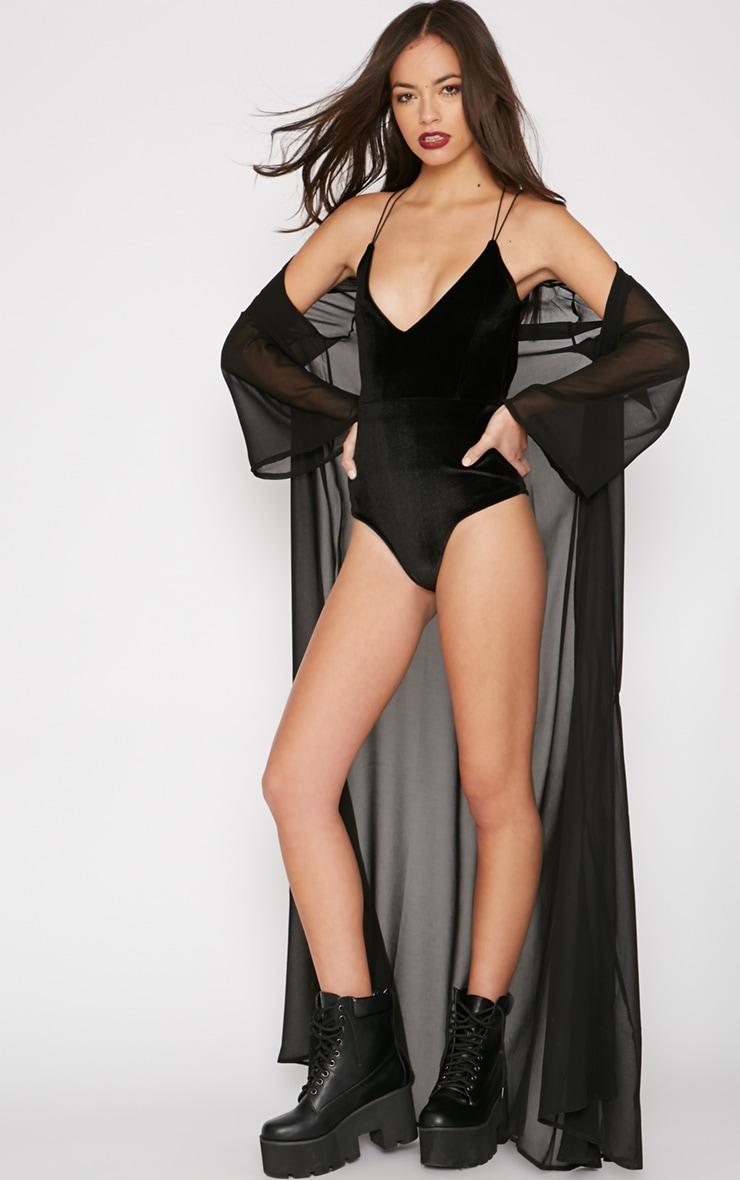 Thorne Black Velvet Star Back Bodysuit 3
