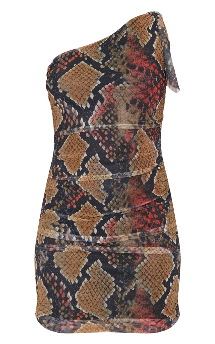 Multi Snake Print One Shoulder Bodycon Dress 3