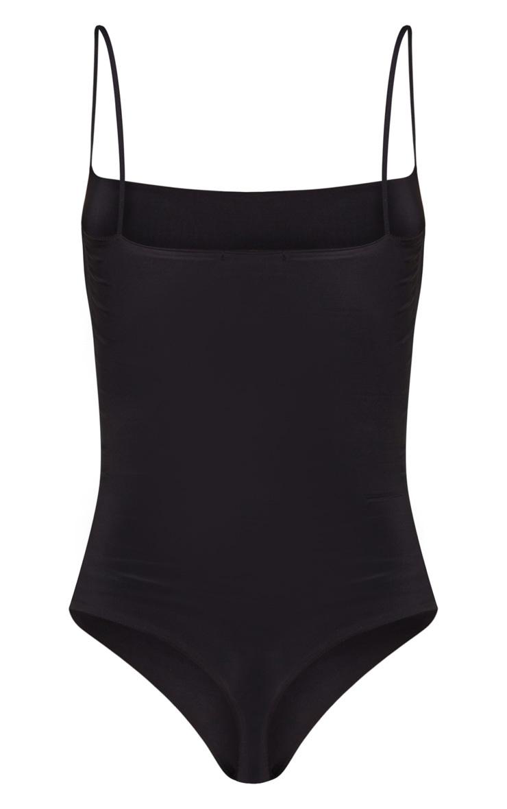 Black Slinky Square Neck Spaghetti Strap Bodysuit 6